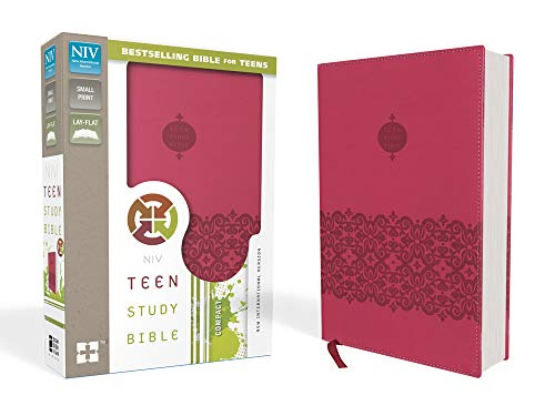 Teen Study Bible: New International Version, Cranberry Italian Duo-Tone With Ribbon Marker