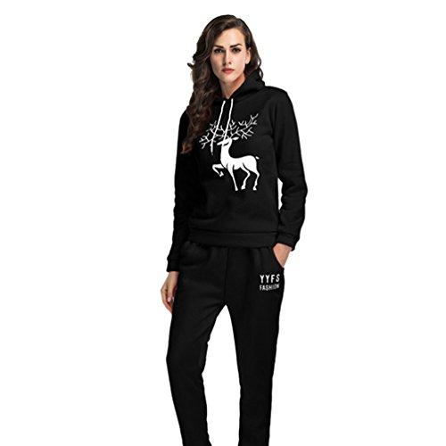 YiLianDa Femme Survêtement Hoodies Sweat-Shirts Pantalons Sports Set Noir M
