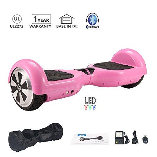 Hoverboard 6.5 Pulgadas 700W con Altavoz Bluetooth UL2272 Luces LED Scooter eléctrico (Rosa)