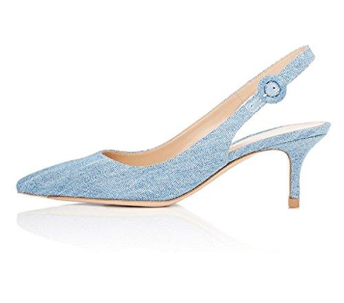 Denim-heels (EDEFS Damen Slingback Pumps Spitze Zehen Kitten Heel Denim Schuhe mit Schnalle Größe EU36)