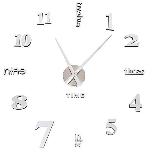 Orologio da parete soledi orologio parete adesivo 3d decorazione per casa ufficio hotel ristorante fai da te riempire vuoto parete 3d orologio ( argento e nero )