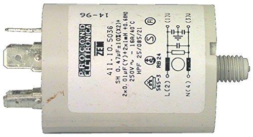 Eurosell Kondensator 0.47 uf / 450 v + earth Ersatz zb für AEG Brandt Miele Universal