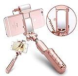 DUBAOBAO Handy Selfie-Stick Mit Mini-Rückspiegel/LED Selbstauslöser Füllen Licht Handy Tragbare Bluetooth Selfie Stick Für iPhone Und Samsung Handys,Pink