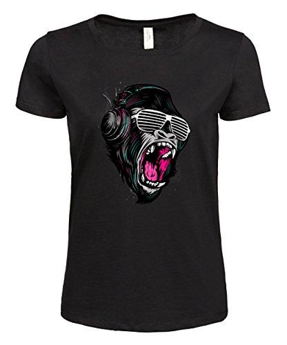 makato Damen T-Shirt Luxury Tee Jungle Sound Black