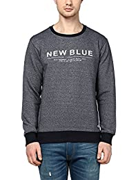 Griffel Latest New Designer Stylish Cotton Fleece New Blue Printed Sweatshirt/Pullover Full Sleeve Round Neck For Men/Boys