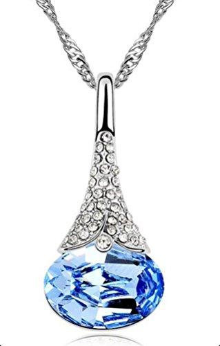 Design unico, placcata in oro bianco, a forma di goccia, colore: azzurro acqua-J'adore cristalli Swarovski Elements-Collana con ciondolo