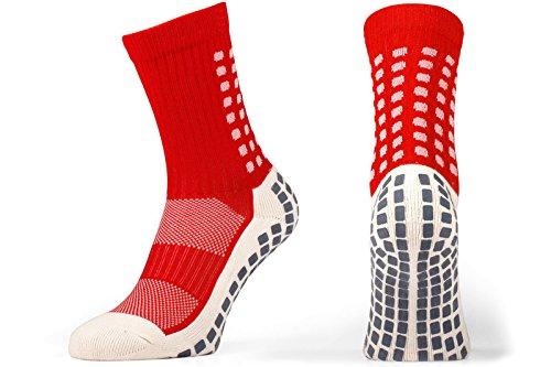 Rutschfeste Fußball Socken, rutschfeste Sport Socken, Gummi-Pads, trusox/tocksox Style, Top Qualität, Basketball, Fußball, Wandern, Laufen, hier in weiß, schwarz, rot, blau rot rot UK 5.5 - 11