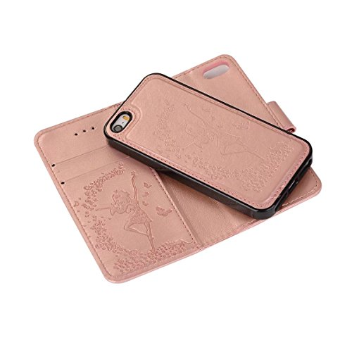 Abnehmbare 2 in 1 Crazy Horse Texture PU Ledertasche, Fairy Girl Embossed Pattern Flip Stand Case Tasche mit Lanyard & Card Cash Slots für iPhone 5s & SE ( Color : Black ) Rosegold