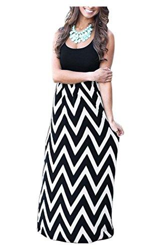 Issza Damen Sommerkleid Lang Kleid Maxikleid Streifen ▒rmellos Strandkleid Rundhals High Waist Cocktailkleid Abendkleid Partykleid, Mehrfarbig (Schwarz/Weiß), Size L