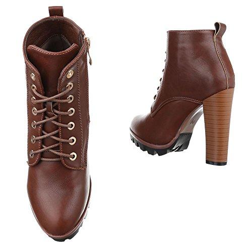 Ital-Design High Heel Stiefeletten Damen Schuhe Schlupfstiefel Pump High Heels Reißverschluss Stiefeletten Braun