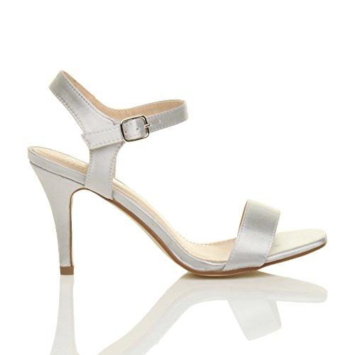 Donna alto tallone partito caviglia cinghietti cinturino scarpe sandali numero Raso Argento
