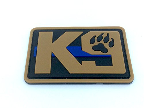 K9 dünn blau Line Polizei Hund Softair Paintball PVC MORAL PATCH, Gummi, braun, 80mm x 50mm (Patches Für Die Polizei)