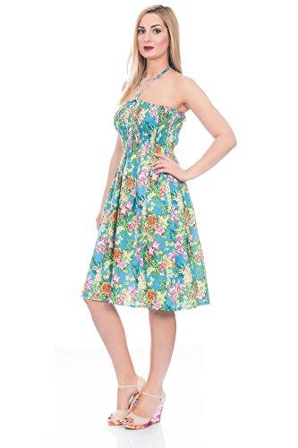 Pistachio, Damen Blumen 3 in 1 Geblümt Paisley Baumwolle Sommerkleid, UK Größen 8-22, Farbauswahl Tropisch Blau