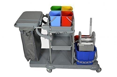CleanSV Servicewagen PE, Reinigungswagen mit Abfallsammler Mülltrennung, 4 x 6 L. Eimer, Moppresse