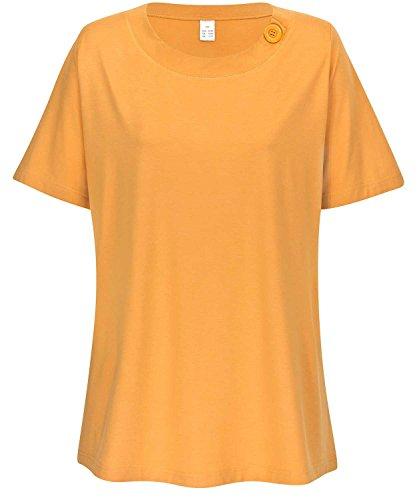 adonia mode Stretch-Shirt mit Zierknopf , Gr. 44/46 - 52/54 , 3 Farben zur Auswahl Apricot