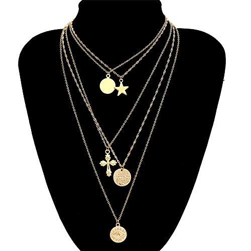 Susulv-JE Collar Anaglifo de la Mujer Lucky Star Coin Cruz Colgante Bohemia En Capas Gargantilla Bar Estación Delicada Cadena Collares Cadena del Cuerpo
