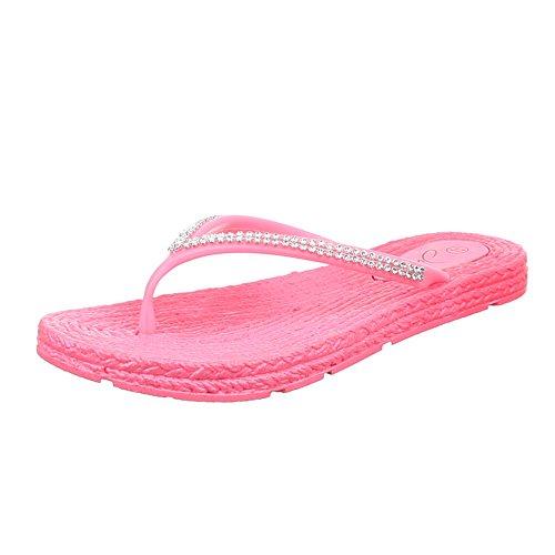 Damen Schuhe, JU-67, SANDALEN PUMPS ZEHENTRENNER Pink
