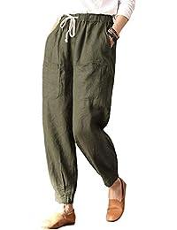 Hibote Femme Pantalons Ete en Lin - Femmes Pantalons de Plage avec Cordon  Confortable Solide Couleur Pantalon… f480f26931b7