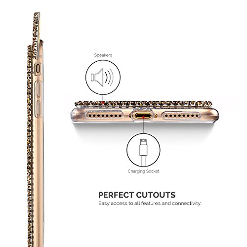 Etui iPhone 7 Plus, SpiritSun Bling Bling Souple Etui Coque de Protection avec Beau Motif Oreilles pour iPhone 7 Plus (5.5 pouces) Glitter Diamant Flexible Silicone Housse Etui Anti-Rayures Anti Choc  Or