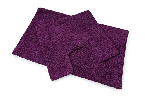 Baumwoll-Bad- und WC-Vorleger-Set, weich, gewebt, auberginefarben, lila, 1200g/qm, Baumwolle, 2 Stück