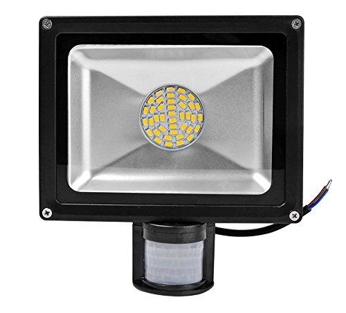 Leetop 20W 30W 50W 80W Faretto a LED con Sensore di Movimento e Crepuscolare Faro Luce Bianco Caldo(30 Watts)