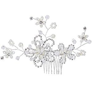 Clearine Damen Böhmisch Blume Klar Kristall Creme Künstliche Perlen Hochzeit Braut Bling Haarkamm Haarschmuck