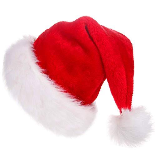 Cusfull Weihnachtsmütze mit Pelzrand, Plüsch Nikolausmütze Santa Claus Hut Extra Weich Weihnachten Weihnachtsmann Nikolaus Mützen Weihnachtsdeko für Erwachsene (1 Pack)