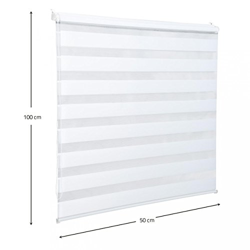 Homelux Doppelrollo Duo-Fensterrollo Klemmträger Kettenzug Seitenzug 50 x 100 cm Weiss - 7
