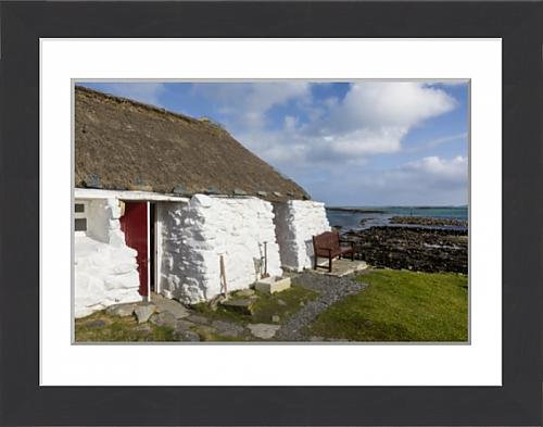 Framed 16x12 Print of Thatched cottage and hostel, Isle of Berneray, North Uist (13814957)