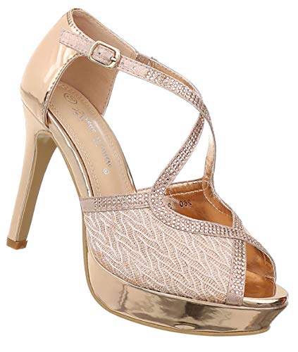 Damen Schuhe Sandaletten | Pumps Abendschuhe | Frauen Riemchen Peep Toes | sexy Plateau High Heels Stiletto | Lack- Leder- Imitat Pfennigabsatz | Gold 39