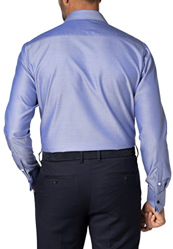 Eterna long sleeve Shirt MODERN FIT Herringbone uni Blu
