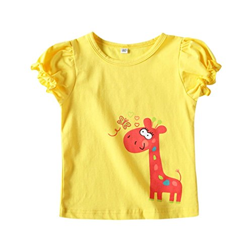 Amlaiworld Mädchen sommer Karikatur Giraffe drucken t-shirt -