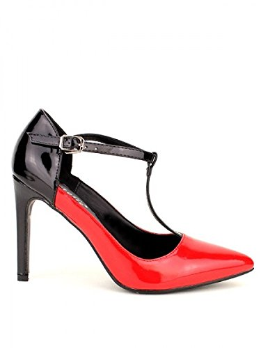 Cendriyon, Escarpin Verni Black and Red BESTELLE Chaussures Femme Rouge