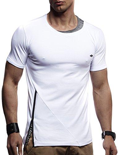 LEIF NELSON Herren Jungen T-Shirt Hoodie Sweatshirt Rundhals Ausschnitt Kurzarm Longsleeve modern Basic Shirt Stehkragen Vintage Sweatshirt Baumwolle-Anteil LN1215; Größe XL, Weiss