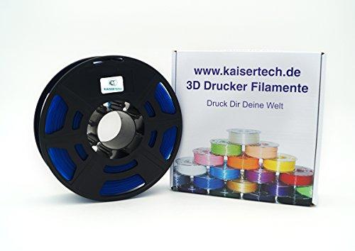 Kaisertech Filament für 3D Drucker 1kg PLA/ABS 1.75mm / 3mm - Premium Qualität & verschiedene Farben für MakerBot RepRap MakerGear Ultimaker uvm. (PLA 1.75mm, Transparent Blau)