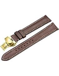 istrap Correa de Reloj de cuero 21mm mano pulsera correa Repuesto Golden mariposa cierre hebilla, color marrón oscuro
