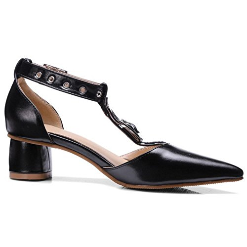 TAOFFEN Damen Classical Geschlossene Pointed Toe T-Spange Schnalle Blockabsatz Sandalen Schwarz