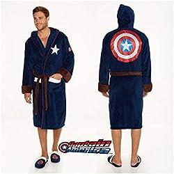 Groovy Marvel Captain America Peignoir en Polyester pour Homme Bleu