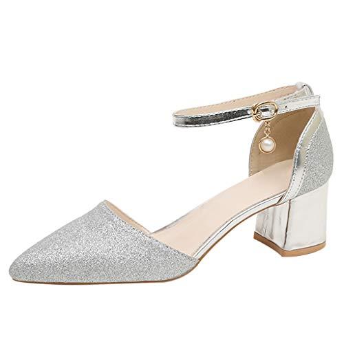 Hcfkj sandali estivi donna scarpe da donna a punta scarpe con fibbia abito sandali con tacco alto scarpe con tacco alto