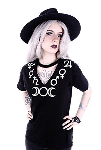Dark Dreams Restyle Gothic Shirt Top Nugoth Symbole Hexe Mond Moon Witchy Okkult Choker S M L XL XXL XXXL, Größe:L