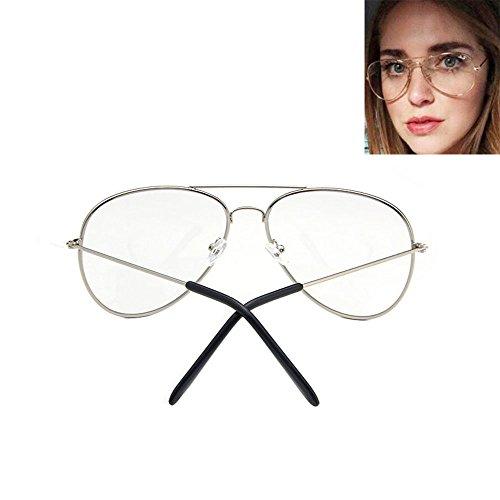 Piloten-Sonnenbrille mit durchsichtigen Gläsern im Retro-Stil silber