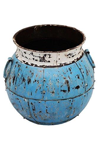 Indischer Metall Blumentopf Ishtiaq 40cm Groß | Mediterraner Vintage Pflanzentopf aus Indien Außen für Garten, Terrasse oder Balkon | Mediterrane Blumenkübel Pflanzenkübel Innen als Deko -