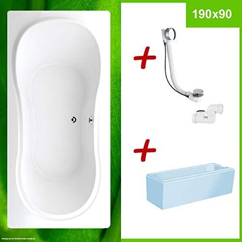 DUO Badewanne für 2 mit Wannenträger PALMA 190x90 SET ✔ KOMPLETT SET