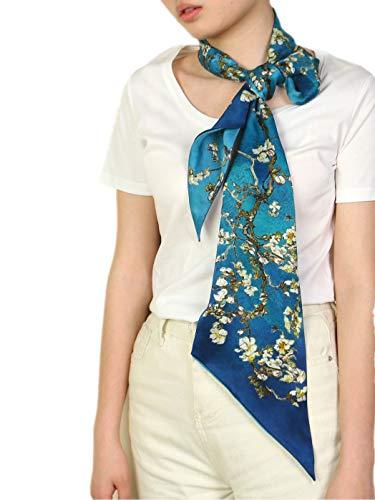 prettystern Seiden-Tuch Skinny Frühling Sommer blau Krawatten-Schal van Gogh Mandelbaumzweige