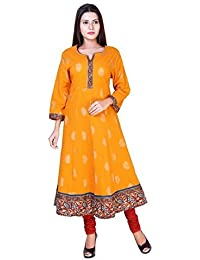 Women's Mustard Yellow Jaipuri Block Print Cotton Anarkali Kurti - Large (42) Size By BS Exports