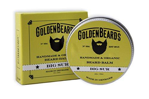 Bio Bart Balsam - Big Sur - 60ml GoldenBeards | 100% natürlich und handgefertigt | Jojoba & Argan & Aprikosenöl & Patschuli, Lavendel