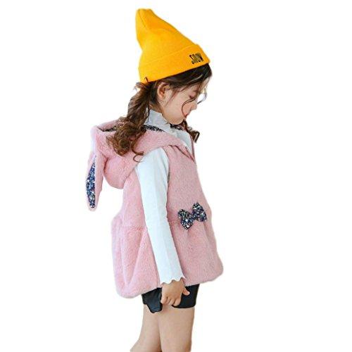 Mädchen Kunstpelzmantel Hirolan Kinder Herbst Winter Hase Weste Baby Mädchen Dick Mantel Warm Fake Fur Outwear Kleider (90cm, (Kostüme Kind Lila Anzug Haut)