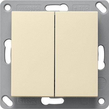 Gira 242201 Funk Wandsender Batterielos, 2fach System 55 Cremeweiß