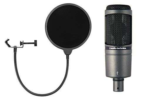 Audio-Technica AT2020 USB Kondensatormikrofon Set (mit Nierencharakteristik,