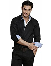 DAZZIO Solid Slim Fit Black Formal Shirt (Please Refer Size Chart)